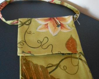 Flap purse,  Over the shoulder purse, Flower, vine print