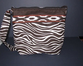 "Handmade Jungle Zebra Print Purse,  over the shoulder purse, 9"" by 11"""