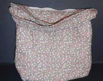"Handmade Pink, White, Flowered on grey Print Purse,  arm purse, 9"" by 11"""
