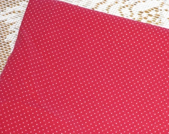 Vintage Cotton Fabric Cranberry Red and White Pin Dots Polka Dot 1 Yard