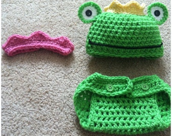 Crochet Frog Prince Outfit And Proncess Crown (set for twins)