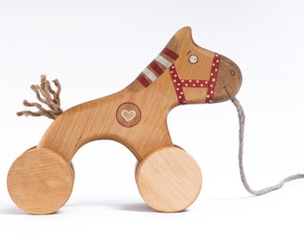 Wooden Horse Toy, eco friendly pull kids toy