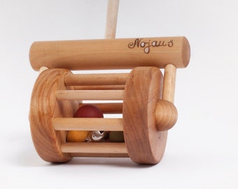 Wooden Toy, Natural Personalized  Lawnmower Toy, Toddler Toy, Rattle Toy