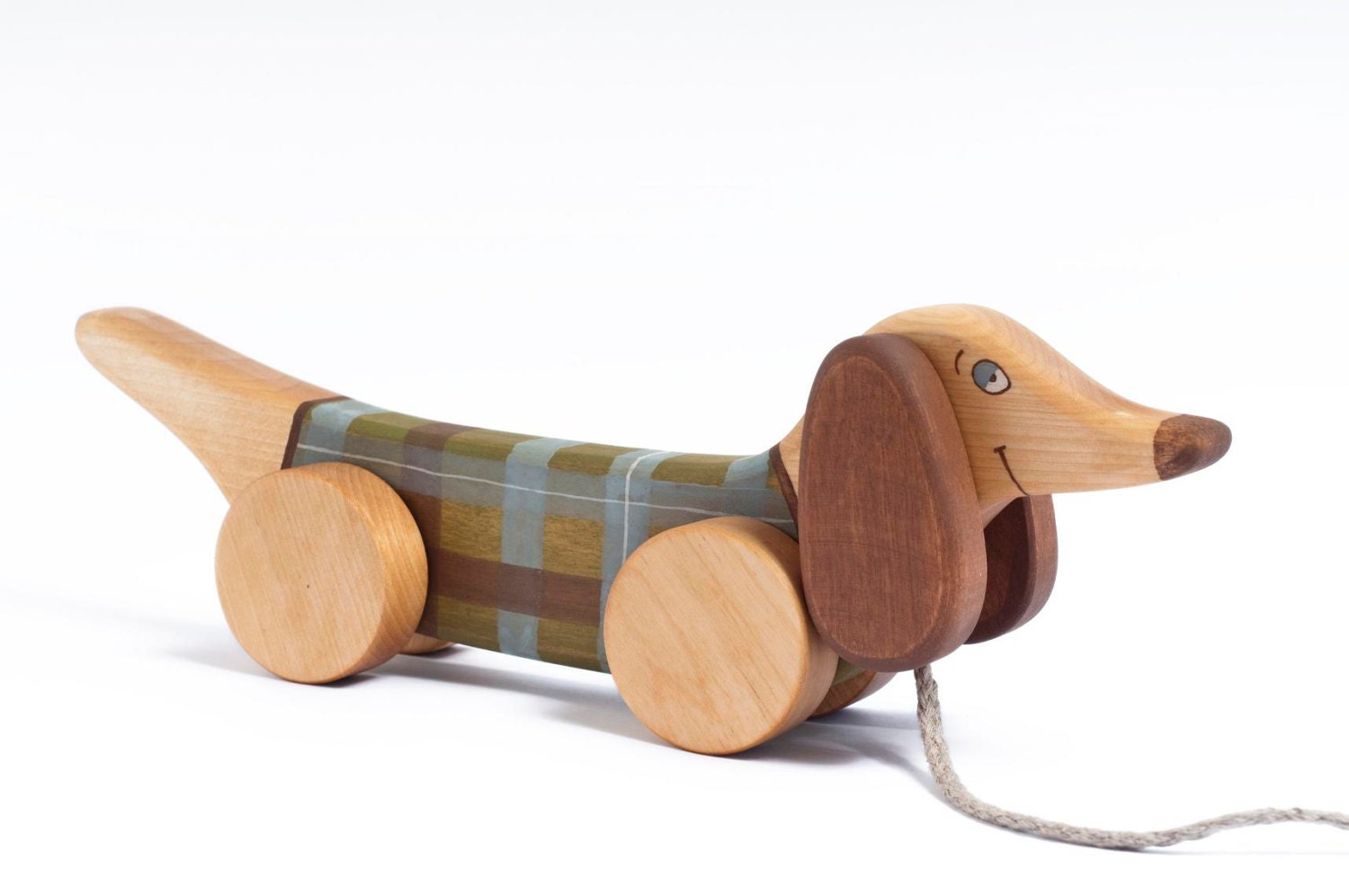 Kids Wooden Toy pull along toy Green Dog by FriendlyToys on Etsy