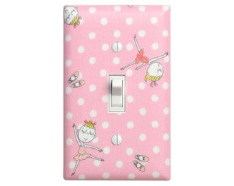 Ballerina Light Switch Plate / Girls Room / Baby Nursery Decor / Pink and White Polka Dots