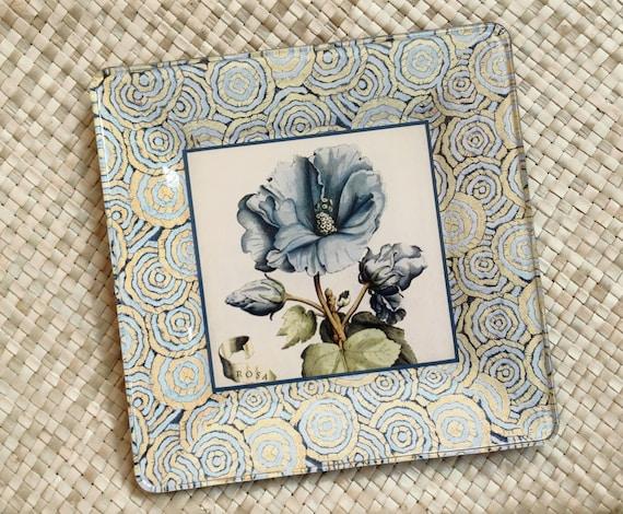 Blue flower botanical print decoupage plate - cottage decor