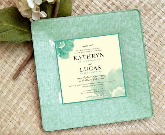 Wedding Invitation / Keepsake / Custom wedding gift / Decoupage Plate ...