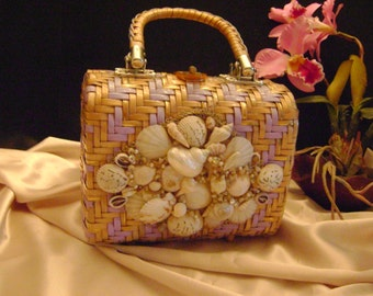 Sale, was 85,Vintage Palm Beach shell bag.