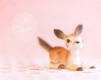 Oh Deer Pastel Pink Whimsical Print Decor Nursery Print Childhood Whimsical Quote Soft Dreamy Wall Art Fine Art Print