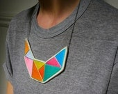 Geometric bib necklace embroidered in mint bright yellow pink blue lavender and orange Summer fashion