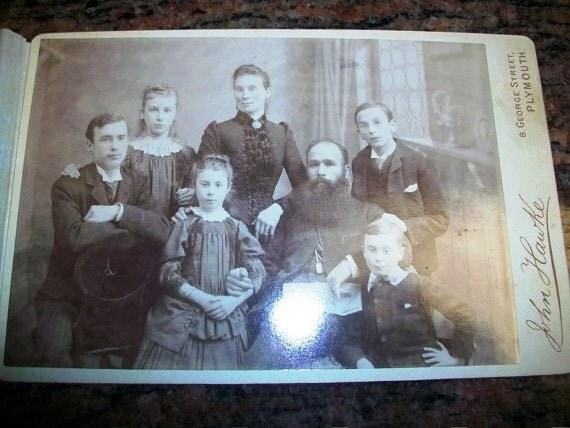 Vintage Cabinet Card Victorian Family Portrait 1800s Photograph