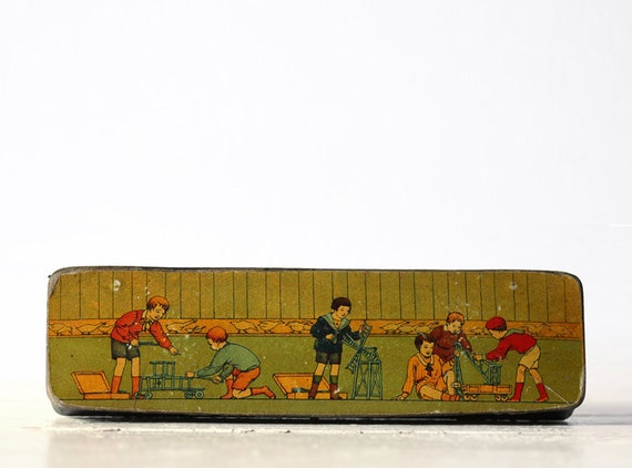 Very decorative Antique french Wooden SCHOOL PenciL BOX with CHILDREN