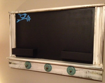 "Shabby Chic Framed Chalkboard cottage chic chalkboard with hooks ""The Darcy"""