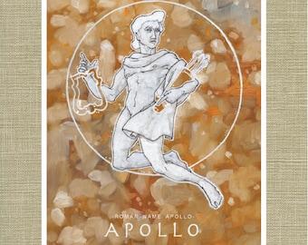 Greek and Roman Gods Apollo God of the Sun - Olympians Art Print 11 x 14