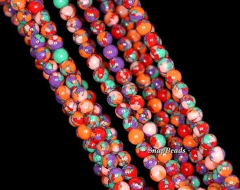 4mm Matrix Turquoise Gemstone Purple Orange Round 4mm Loose Beads 15.5 inch Full Strand (90146387-154)