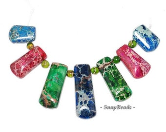 Rainbow Impression Japser Gemstone Rainbow Loose Beads Graduated Set 7 Beads (90146683-149)