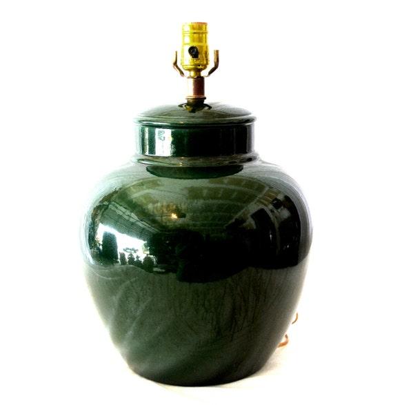 Vintage Emerald Green Ginger Jar Lamp