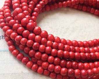"1 Full Strand (15"") (over 85 pieces) of 4 mm Red Turquoise Gem Stone Beads(gz sdu - t.g)"
