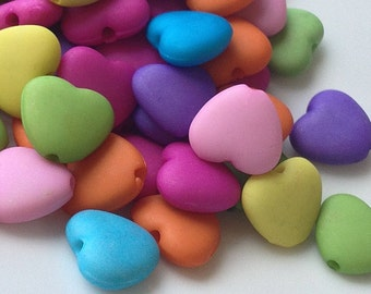 12 mm Matte Heart Shape Acrylic Beads of Assorted Color (.mg)
