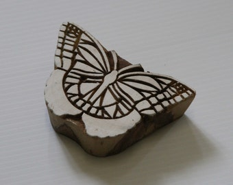 Butterfly Stamp - Indian Wood Block Printing Stamp -  Hand Carved Butterfly