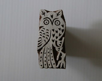 Owl Stamp - Wooden Block Print - Craft Stamp - Hand Carved - Indian Style - Small