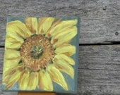 YELLOW SUNFLOWER Acrylic Painting 5 x 5 Stretched Canvas