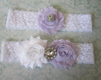 Light Purple & White Wedding Garter Set - Choose Rhinestone or Pearl