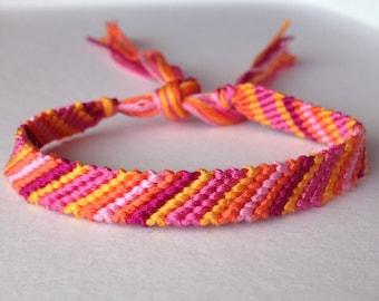Oranges & Pinks Striped Friendship Bracelet