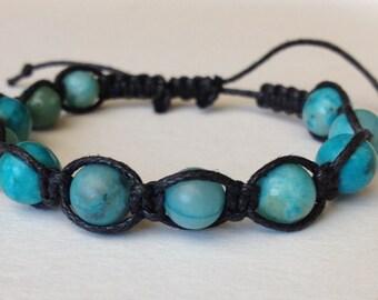 Turquoise Dyed Jasper on Black Waxed Cotton Bracelet