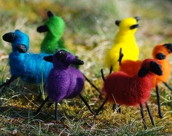 When Sheep Fly Handmade Felted Nursery Sheep Mobile Rainbow Of Colors
