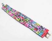 rhinestone graffiti bracelet neon bright colors