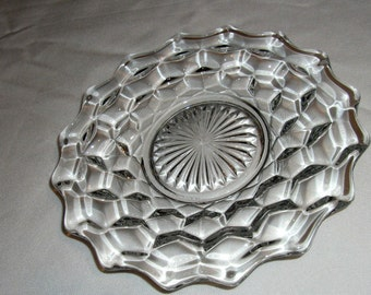 Fostoria American Cube Bread & Butter Plate Vintage USA Glassware Cubic Pattern Elegant Glass