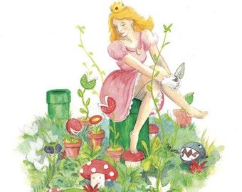 Princess Peach 12x18 Illustration Print