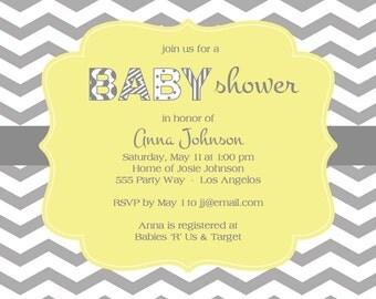 Chevron Printable Baby Shower - Multiple Colors (Digital Image)