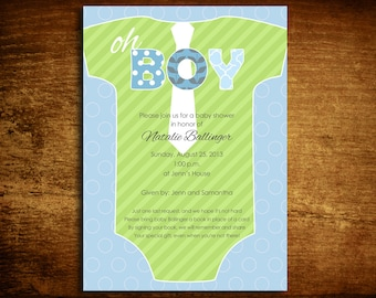 OH BOY with a tie Onesie Baby Shower Invitation Lising for 50
