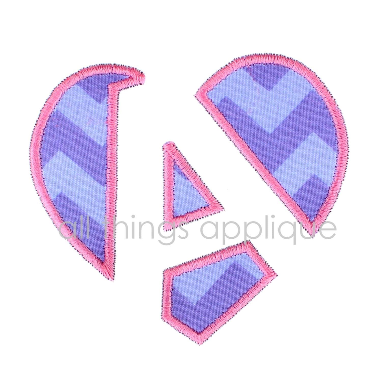 Open Heart Applique Alphabet ONE LETTER 3 Sizes