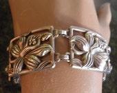 Vintage Sterling Flower Bracelet, Marked Danecraft Sterling