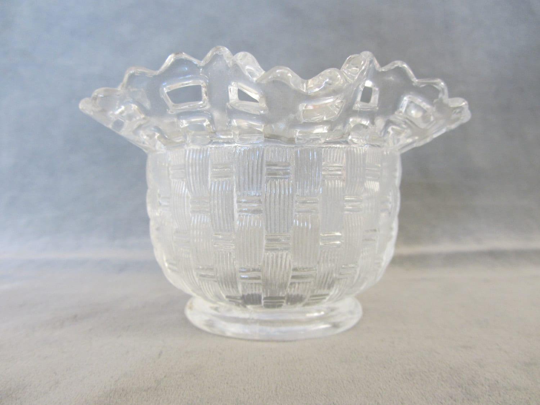 Basket Weaving Edging : Fenton basketweave open lattice edge bowl or vase
