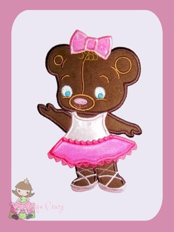 Ballerina Bear Applique design
