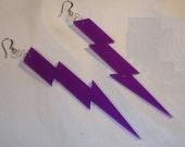 4 inch LIGHTNING BOLT Purple Acrylic Earrings Punk EMO