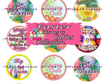 Momma Eva's -- INSTANT DOWNLOAD / Easter Sisters Cuties Collection / 4 x 6  / 1 in Circles /  Bottle Caps  Hair Bows