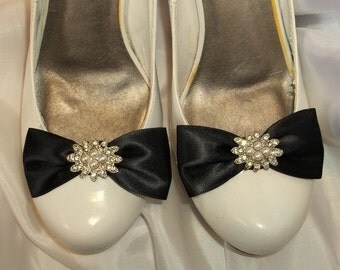 WEDDING SHOE CLIPS, Bridal Shoe Clips, Vintage Style Shoe CLips, Satin Shoe CLips, Pearl Rhinestone Shoe Clips for bridal shoes weddings