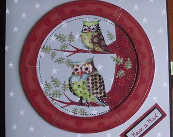 Handmade scrapbook Memory album / Have a Hoot. Woodland animals / owls