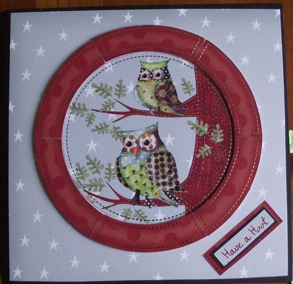 Handmade scrapbook Memory album / Have a Hoot. Woodland animals / owls