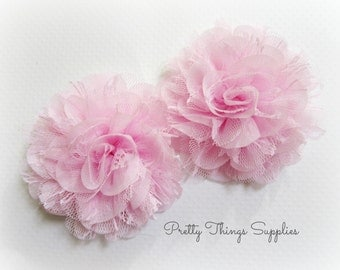 Light Pink Lace Chiffon Flowers. Lace and Chiffon Flowers. SIOBHAN Collection. 2 pcs