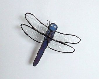 Li'l Blue Stained Glass Dragonfly Suncatcher - Reduced 50%