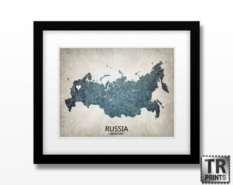 Russia Map - Home Is Where The Heart Is Love Map - Original Custom Map Art Print Available in Multiple Size and Color Options