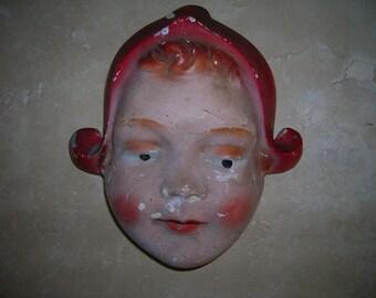 On Sale Now  Vintage Dutch Girl String Holder / Chalkware /  Farmhouse Chic