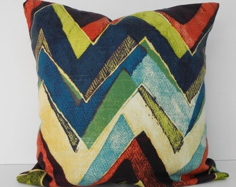 Chevron Zig Zag Decorative Pillow Cover, Robert Allen Throw Pillow, Coral, Plum, Teal,16 x 16, Cushion Cover