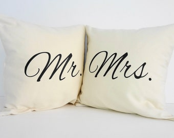 Mr. and Mrs. Throw Pillow Covers, Wedding Gift, Accent Decorative Pillows, Set of 2, WITH INSERTS,14 x 14, Cushion Covers
